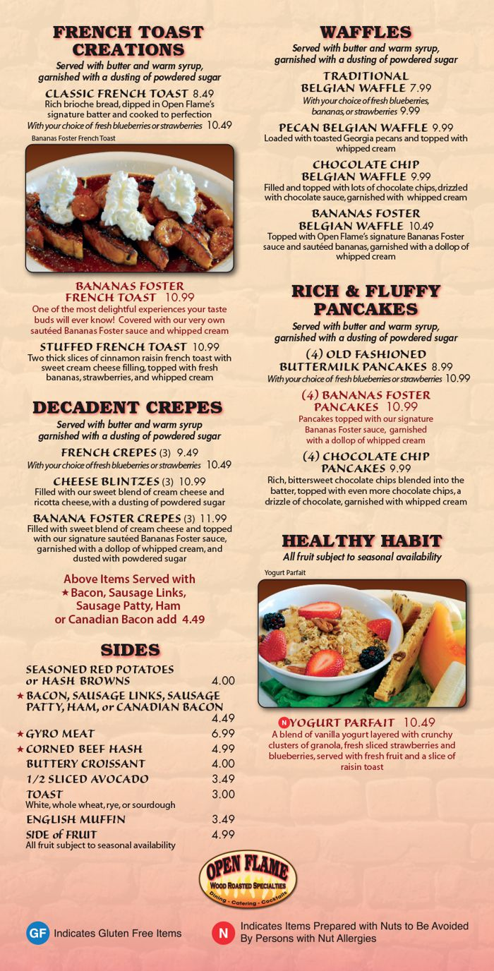 Open Flame Breakfast Menu part two